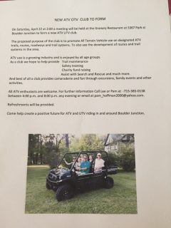 New ATV club to form This was a notice for our very first meeting April 22nd, 2017. We have come a long way since then. This year we will start our fundraising, and are have a membership drive. Now is the time to join up and join in!