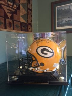 This Green Bay Packer helmet is signed by Brett Farve #4 and will be in one of our fundraisers. Stay tuned...