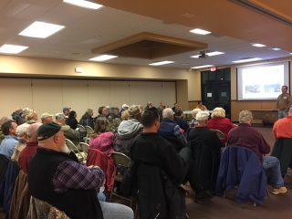 We held a public forum in November of 2017. This was the panel of experts and the crowd that attended. One of the best meetings this town has ever seen.  The panel consisted of the following people •	Ron De Bruyne – Vilas County Board Chairman •	Dale Mayo – Vilas Cty Parks & Rec Administrator •	Randy Schneider – Vilas Cty Dep. Sheriff - Recreation •	Sara Pearson – WI DNR, NH-AL Property Mgr-Enfor. •	Terry Coplien – WATVA, Northeast Regional Rep •	Corky Sheppard – Woodruff Town Supervisor •	Dewey Sternberg – Lakeland ATV/UTV Club Pres. •	Jim Hamilton – BJ Snowmobile Club Pres.